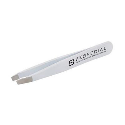 Пинцет для коррекции бровей Bespecial скошенный белый, Soft Touch: фото