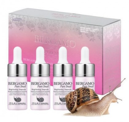 Сыворотка ампульная с муцином улитки для сияния кожи BERGAMO Snail ampoule set 20 ампул по 13 мл: фото