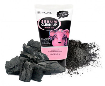 Маска-пленка с древесным углем 3W CLINIC Sebum Clean-Up Peel Off Pack 100мл: фото