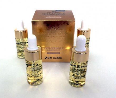 Сыворотка с золотом и коллагеном 3W CLINIC Collagen & Luxury Gold Anti Wrinkle Ampoule: фото
