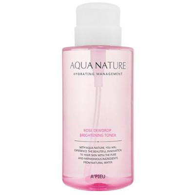 Тонер для яркости кожи A'PIEU Aqua Nature Rose Dewdrop Brightening Toner 500мл: фото