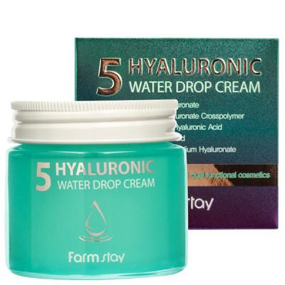 Крем суперувлажняющий с гиалуроновым комплексом FarmStay Hyaluronic 5 Water Drop Cream 80мл: фото