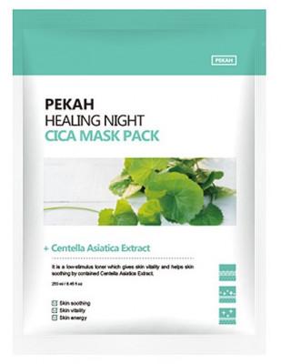 Тканевая маска с экстрактом центеллы азиатской PEKAH Healing Night Cica Mask Pack 25мл*5шт: фото