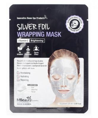 Маска восстанавливающая серебряная фольгированная с витамином С MBeauty Silver Foil Wrapping Mask 25мл: фото
