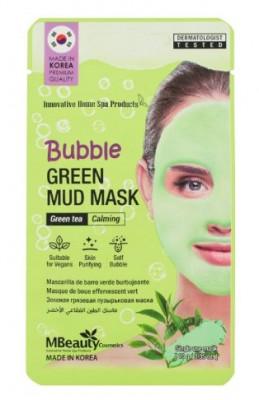Успокаивающая очищающая пузырьковая маска для лица с глиной и экстрактом зеленого чая MBeauty BUBBLE GREEN MUD MASK 10г: фото