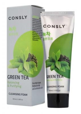 Пенка для умывания балансирующая с экстрактом зеленого чая Consly GREEN TEA BALANCING CREAMY CLEANSING FOAM 100мл: фото
